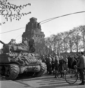 US Tank and Civilians, 1945