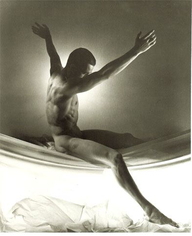 Ted Starkowski (arms up), 1954, George Platt Lynes